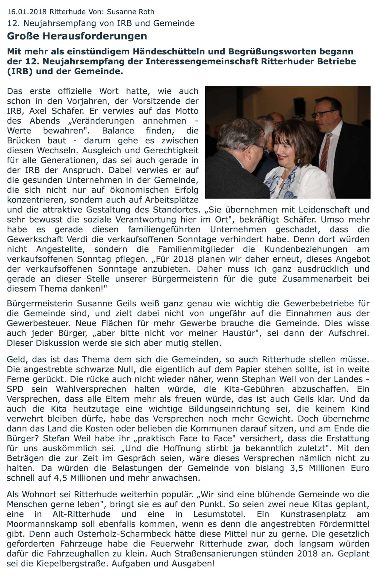 IRB Ritterhude: Presseartikel